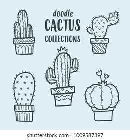 vector doodle cactus collections, vector cactus set, doodle cactus, succulent vector set