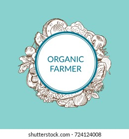 Vector doodle cketched fruits and vegetables vegan, healthy food emblem isolated on colored background. Badge organic farmer illustration