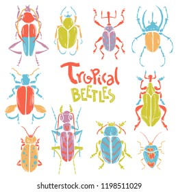 Vector doodle collection of big decorative tropic bugs. Bright beetles, trendy illustration. Scandinavian style.