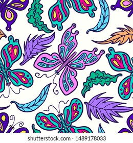 vector doodle colorful butterfly and leaves seamless pattern on white