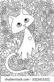 Vector doodle coloring book page cute cat in flowers. Anti-stress for adults and children