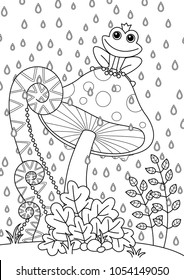 Vector doodle coloring book page forest mushroom with funny frog. Anti-stress for adults and children