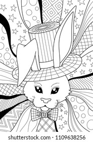 Vector doodle coloring book page cute rabbit on the abstract background. Anti-stress for adults and children
