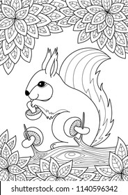 Vector doodle coloring book page cute squirrel on the tree. Antistress coloring for adults and children.