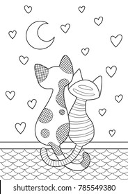 Vector doodle coloring book page cats sitting on the roof and look at the moon on hearts background. Anti-stress for adults.