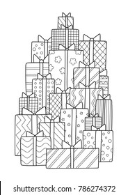 Vector doodle coloring book page bunch of gift boxes with bows. Anti-stress for adults.