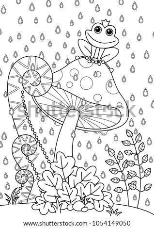 Vector Doodle Coloring Book Page Forest Mushroom With Funny Frog Anti Stress For Adults