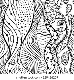 vector doodle crazy black and white seamless background