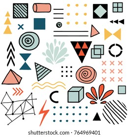 Vector doodle design elements. Collection of colorful Hand Drawn doodles and shapes. Modern abstrac minimalistic memphis style vector elements