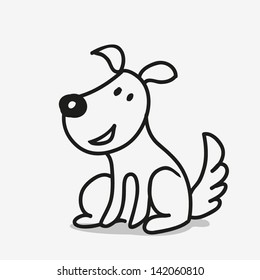 vector doodle dog sitting and smiling