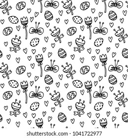 Vector doodle Easter seamless pattern. Black white ink illustration of eggs, flowers, hearts, butterflies and other holiday design elements for textile print, wrapping, backgrounds. Easter background.