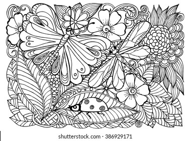 Vector black white tattoo skull seamless stock vector royalty free vector doodle flowers in black and white floral pattern with dragonfly ladybug butterfly mightylinksfo