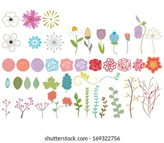 Vector Doodle Flowers and Foliage