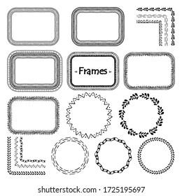 Vector Doodle Frame. Hand Drawn Element Set. Retro Doodle Frame Design. Hand Drawn Line Art Illustration. Vintage Ornament Collection. Doodle Frame Set. Hand Drawn Sketch. Black Vintage Ornament Set.