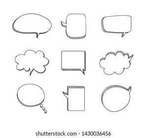 Vector Doodle Frames Set Isolated on Whtie Background, Hand Drawn Speech Bubbles Collection, Outline Drawings, 3D Illustration.