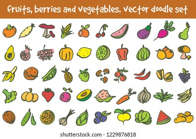 Vector doodle fruits, berries and vegetables icons set. Stock cartoon signs for design.