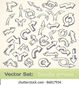 vector doodle funny arrows set