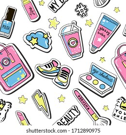 Vector doodle girly party seamless pattern, texture or background