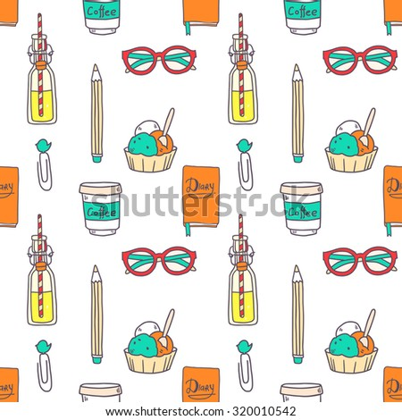 Vector doodle hand drawing seamless pattern with girl elements like diary notebook, lemonade, cupcakes, glasses and so on