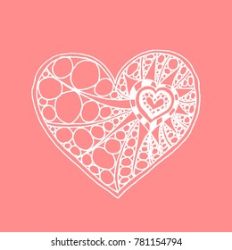 Vector doodle hand drawn heart. White heart on pink background. Card for Saint Valentines Day. Symbol of love. Heart in zentangle style.