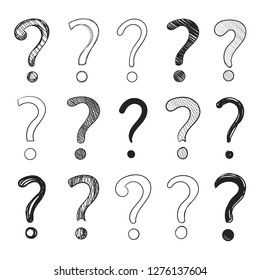 Vector Doodle Hand Drawn Question Marks Set Isolated on White Background, Black Drawings.
