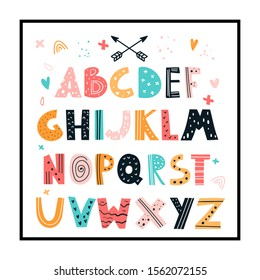 Vector doodle hand-drawn colored alphabets with frame. Children's poster with a cute Scandinavian style alphabet.Lovely letters. Lettering. Nursery poster with colored hand drawn letters. Abc.