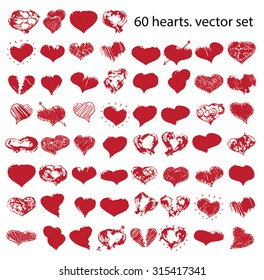 vector doodle hearts set  for happy valentines day or wedding
