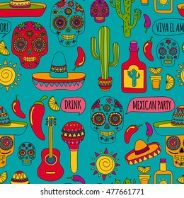 Vector doodle icons Mexican party Hello How are you Food Drinks