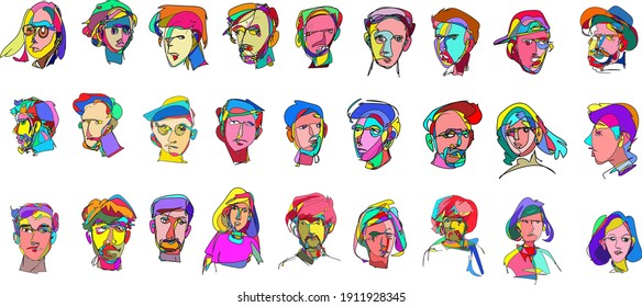 Vector doodle illustration continuous drawing of colorful people face, masker, mask in pop art style in white background.