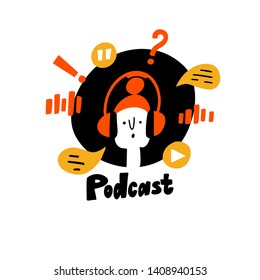 Vector doodle illustration of girl in headphones. Podcast show logo concept. Isolated on white.