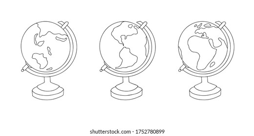 Vector doodle illustration of a globe from bifferent angles.
