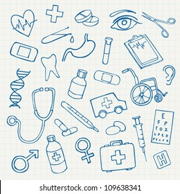Vector doodle illustration Medicine icons