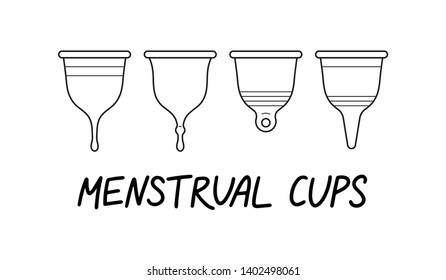Vector doodle illustration with menstrual cup set with. Eco-friendly, washable menstrual cup. Zero waste supplies for personal hygiene. Sustainable lifestyle. Plastic-free concept.