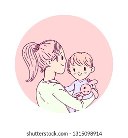 Vector doodle illustration of a mother with a child with a cute stuffed toy rabbit. Best for colorful and pastel colors, for motherd's day celebration greetings card, ads, posters, banners.