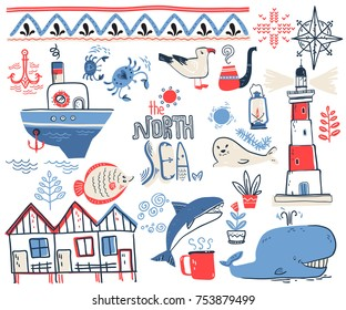 Vector doodle illustration. North sea. Scandinavian style. Collection with lighthouse, boat, marine animals, whale, killer whale, crabs, gull, fish, sea symbols.