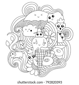 Vector doodle illustration. Summer pattern for coloring book or design with different objects.