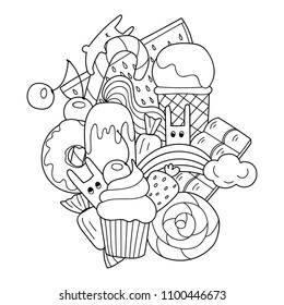 Vector doodle illustration. Sweets in cartoon style with ice cream, cupcake and cute rabbits. Food pattern for coloring book or design.