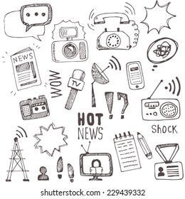 Vector doodle  journalism icons collection. Set of hand drawn symbols with tv,camera, speech bubble, telephone,dictaphone, radio