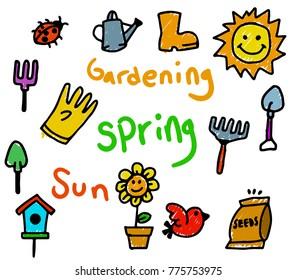 Vector doodle kids illustration for  spring theme