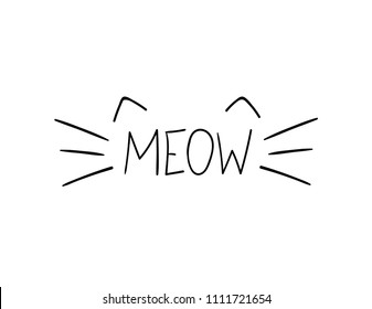 Vector Doodle Meow Illustration, Cat Whiskers Hand Drawn Illustration.