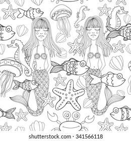 Vector doodle mermaids, sea life seamless pattern.
