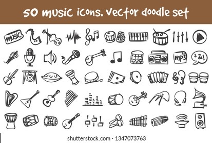 Vector doodle music icons set. Stock cartoon signs for design.