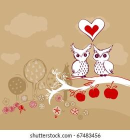 vector doodle owls in love