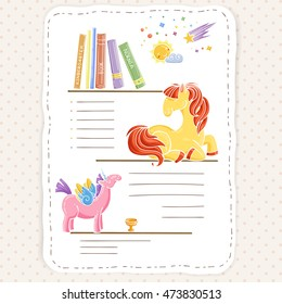 Vector doodle page for kids and children. Pony and books. Child magazine.
