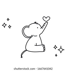 Vector of a doodle of a pretty elephant with a heart in line to paint