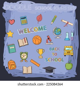 Vector doodle school set with different elements