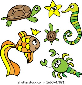 Vector doodle sea animals and fish isolated on white background. Angelfish, turtle, seahorse for kids.