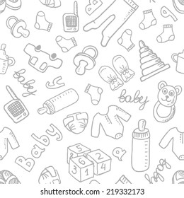 Vector doodle seamless pattern with baby items. Eps 10