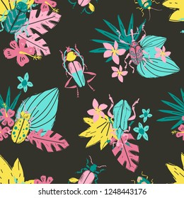 Vector doodle seamless pattern with big decorative tropic bugs and tropis flowers and leaves. Bright beetles, trendy illustration. Scandinavian style.