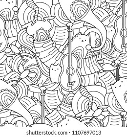 Vector doodle seamless pattern with cute cats and musical instruments. Kawaii animals with guitar, trumpet and piano.